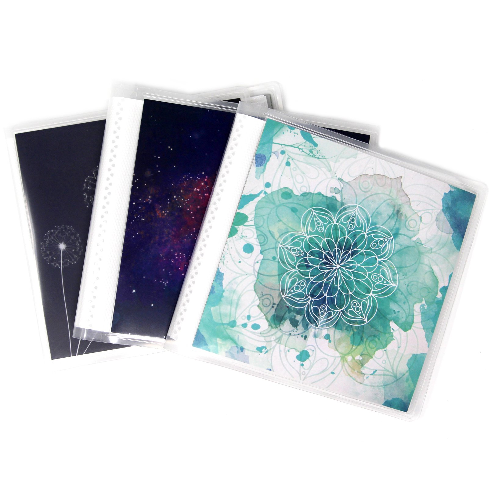 4 x 4 Square Format Photo Albums for Social Media Pack of 3, Each Mini Album Holds Up to 48 4x4 Photos. Flexible, removable covers come in random, assorted patterns and colors.