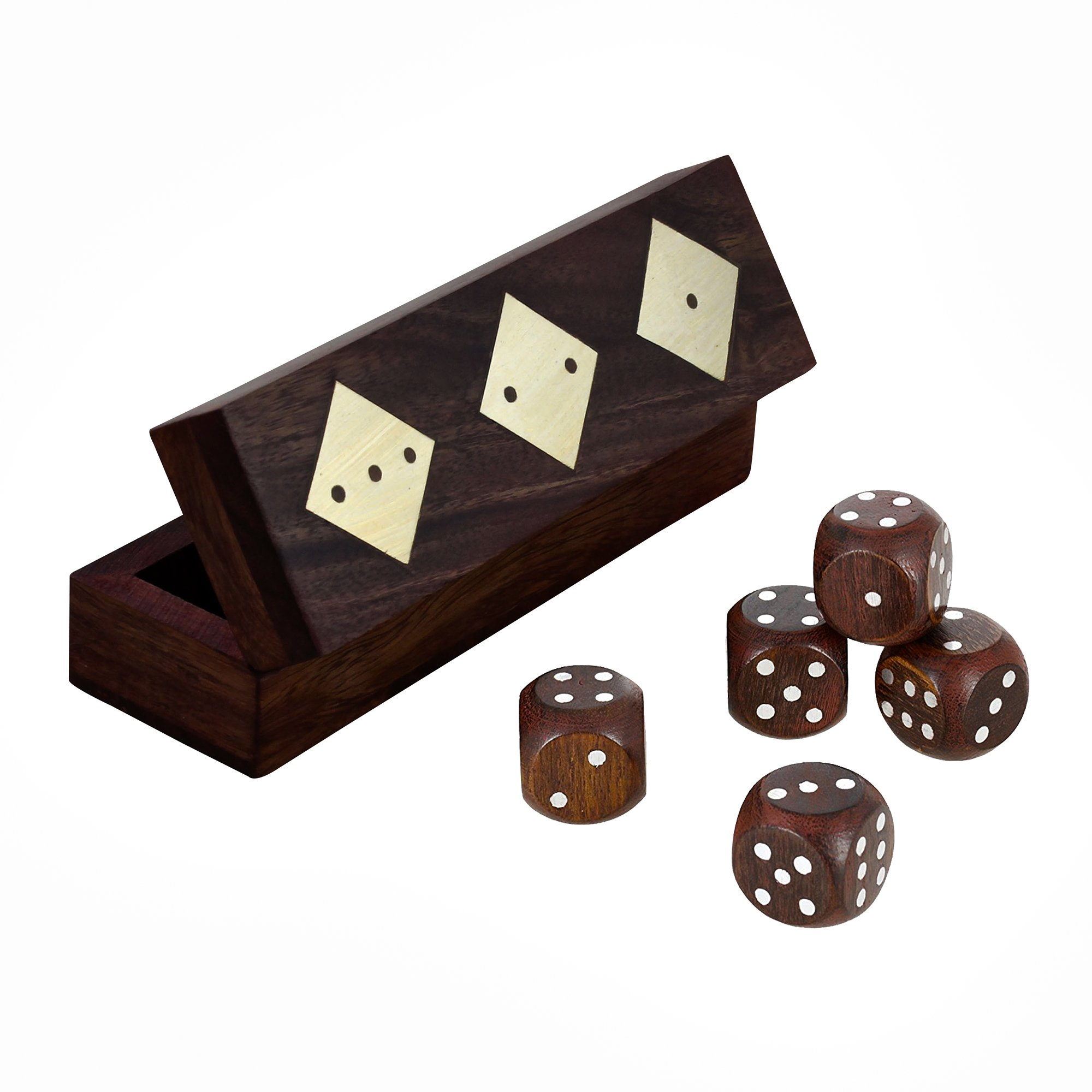 RoyaltyRoute 5 Dices Game Set Brass Inlay Designed Box - Kids Toys Games, Set of 12