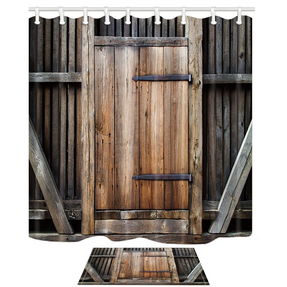 HNMQ Rustic Wooden Shower Curtain, Country Barn Wood Door, 69X70in Mildew Resistant Polyester Fabric Bathroom Curtain Set with 15.7x23.6in Flannel Non-Slip Floor Doormat Bath Rugs