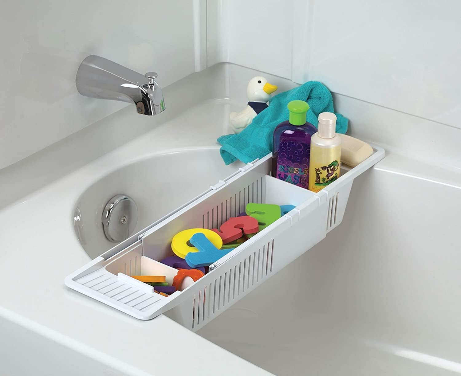 Amazon.com : KidCo Bath Toy Organizer Storage Basket, White ...