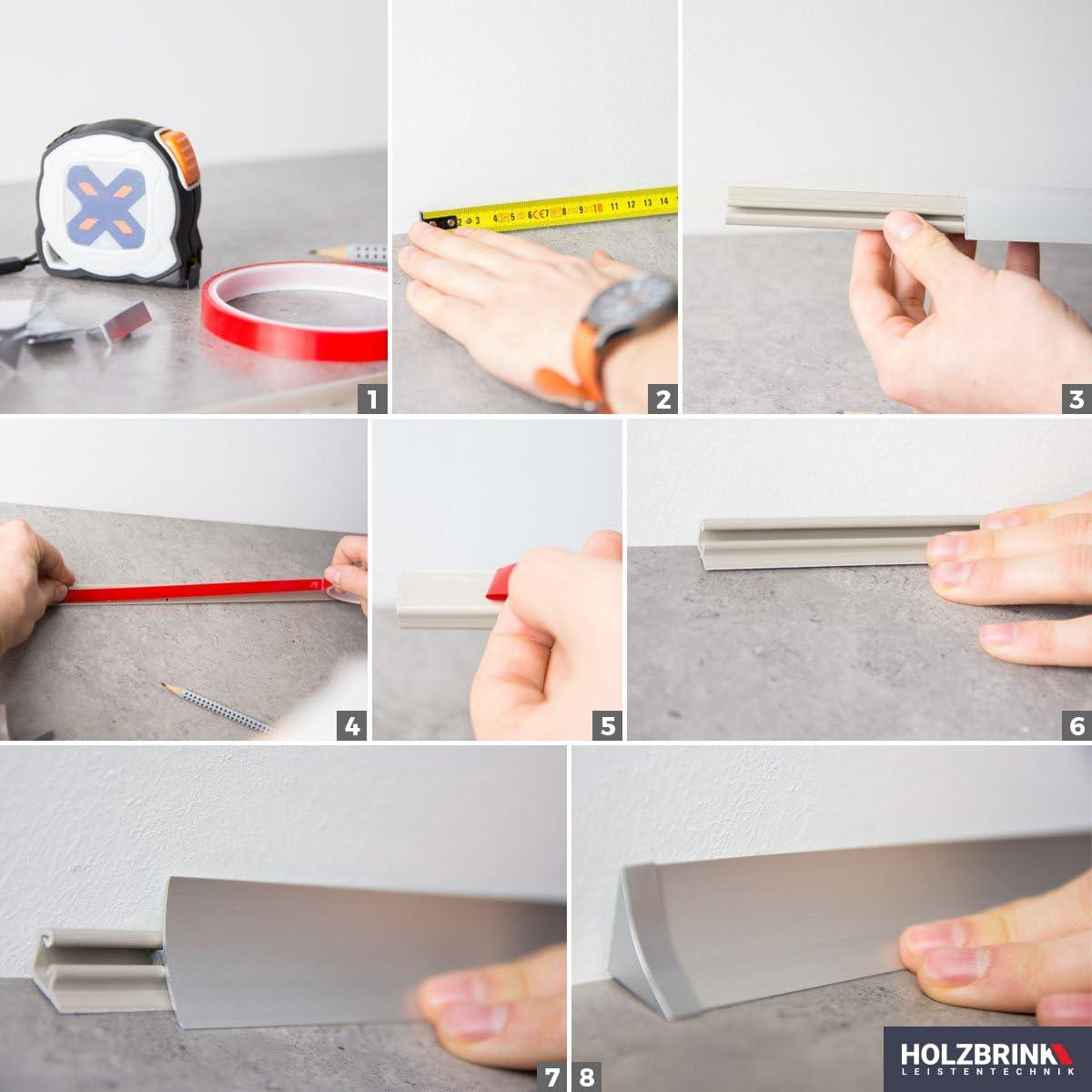 HOLZBRINK K/üchenabschlussleiste Alu Silber K/üchenleiste PVC Wandabschlussleiste Arbeitsplatten 23x23 mm 150 cm