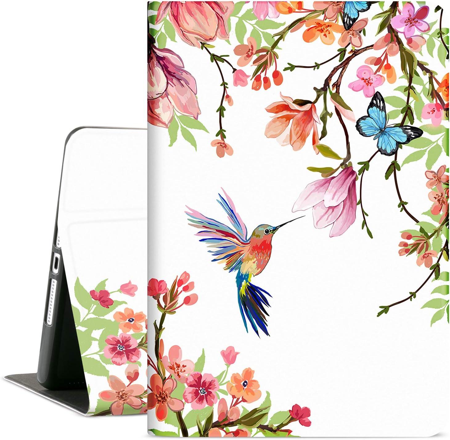 Cutebricase iPad 10.2 Case for iPad 8th Generation 2020, iPad 7th Generation Case 2019 10.2 iPad Cover for Women Girls, Multi-Angle Viewing Case Adjustable Stand Auto Wake / Sleep (Flower Hummingbird)