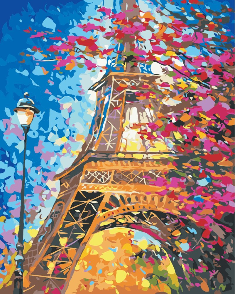 DIY Painting by Numbers for Adults, Paint by Number Kit On Canvas for Beginners, New Painters, Gift Package from SEASON (Eiffel Tower)