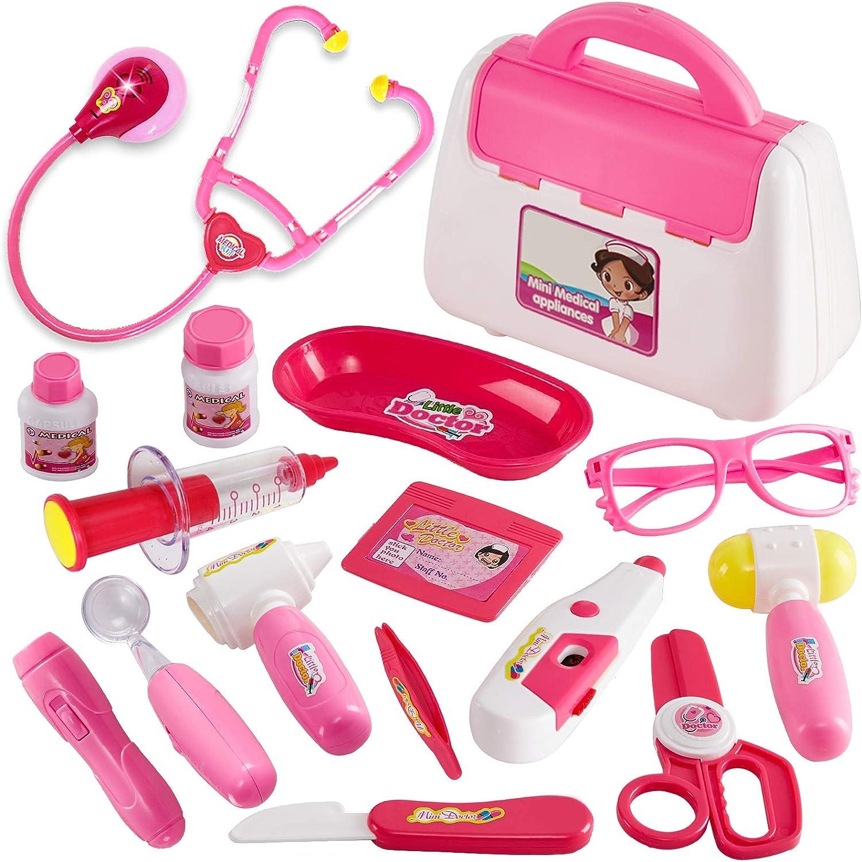 Buyger Juguetes Niña 3 Años Maletin de Medicos Juguetes Botiquin Conjunto Doctora Enfermera Dentista Kit Juguetes Estetoscopio Accesorios para Niña Niños 3 4 5 Años (Rosa)