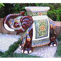 International Caravan Furniture Piece Large Porcelain Elephant Stool