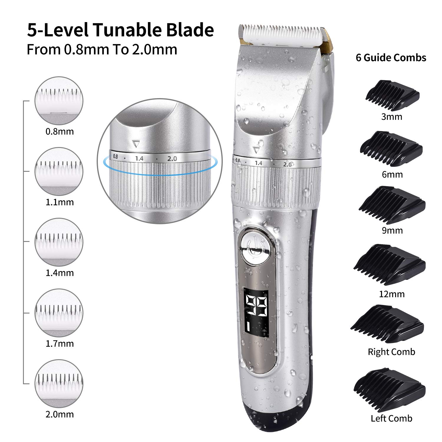 Professional Cordless Hair Clippers for Men Beard Trimmer IPX7 Waterproof Pro Barber Hair Cutting Kit with LED Display USB Rechargeable Pro Titanium Ceramic Shaver Blade