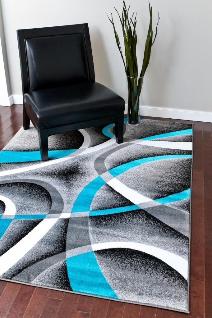 Amazon 2305 Turquoise White Multi 6 Feet 5 Inch By 9 2 Modern Area Rugs Mo Kitchen Dining