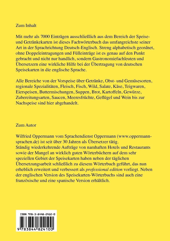 Speisekarten Worterbuch Professional Edition Deutsch Englisch