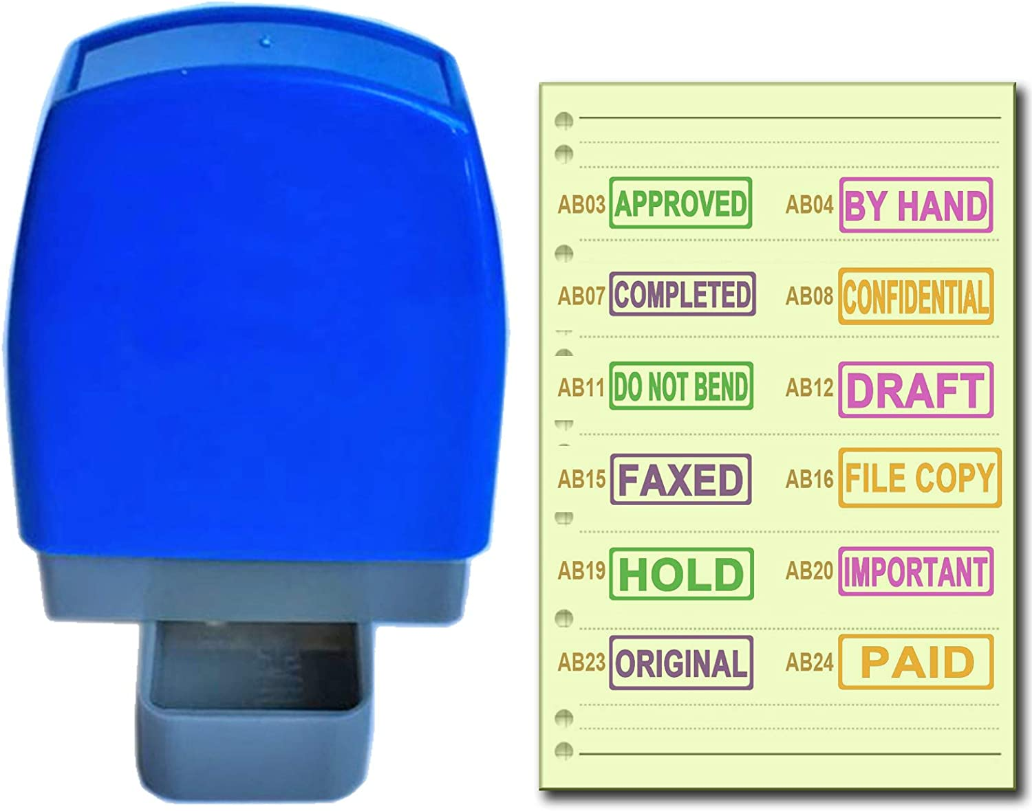 SSEELL Set of 4 Self Inking Pre-Inked Office Stamp, Account Stamp Rubber RE-inkable Office Stationary Flash Stamps Business Paper Work Stamps - Over 70 Options and Eight Ink Colors to Customize