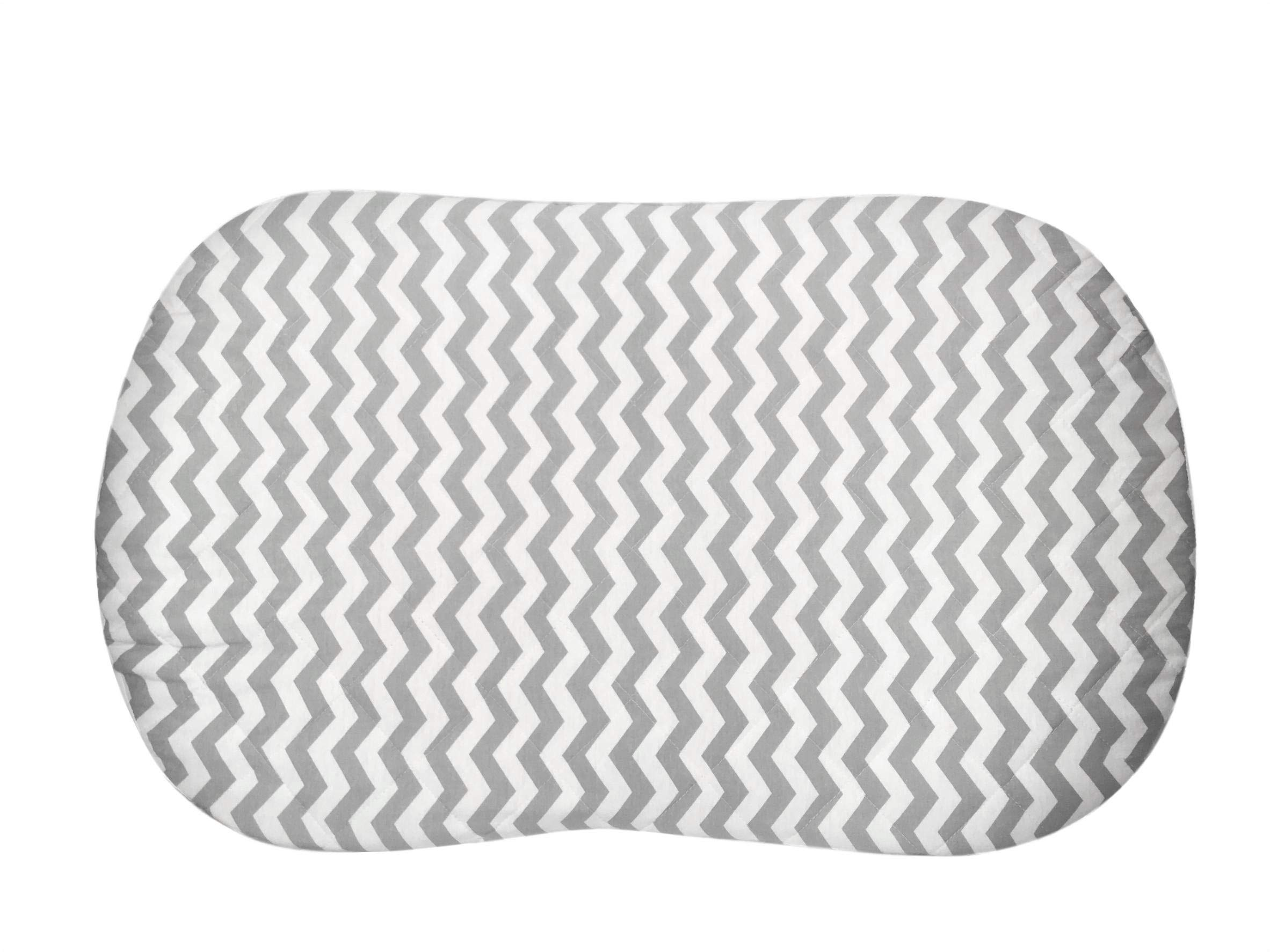 Best Halo Bassinet Mattress Pad - & Sheet Cover Protector, Waterproof Fitted Sheets for Halo Swivel Sleeper, Hypoallergenic, White & Grey Chevron Design for Baby Boy & Girl, Smart Elastic Band Design