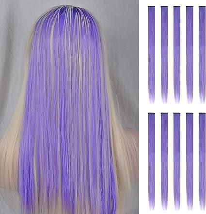 FESHFEN extensiones de cabello colores, 10Pcs de cabello Púrpura claro para niñas Party Highlight Postizos de pelo color liso y colorido Clip en ...