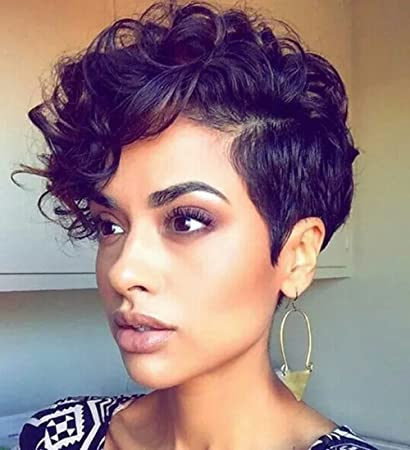 Amazon.com   ELIM Short Wigs for Black Women Afro Kinky Curly Wigs with Side  Bangs Heat Resistant Synthetic Hair Wig Z086A   Beauty 6e4c2db9b0