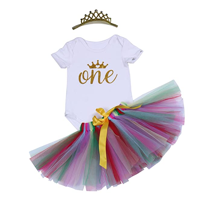 c1b4f01af BabyPreg Baby Rainbow Skirt First Birthday Outfit Girl-3PCs Dress Romper  Crown Set (White