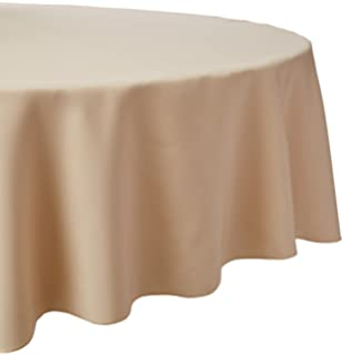 LinenTablecloth 108 Inch Round Polyester Tablecloth Beige