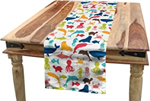 "Lunarable Aquarium Table Runner, Colorful Silhouettes from Fauna of The Ocean Narwhal Octopus Seahorse and Shark, Dining Room Kitchen Rectangular Runner, 16"" X 90"", Multicolor"