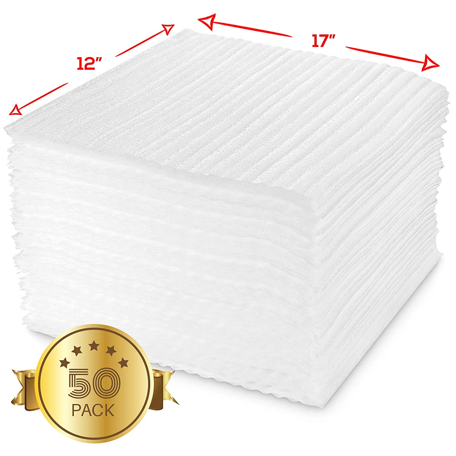 Foam Wrapping and Glass Protection When Moving or Storing Fragile Items Safely Cushion Foam Sheets for Packing 17 x 12-50 Pack