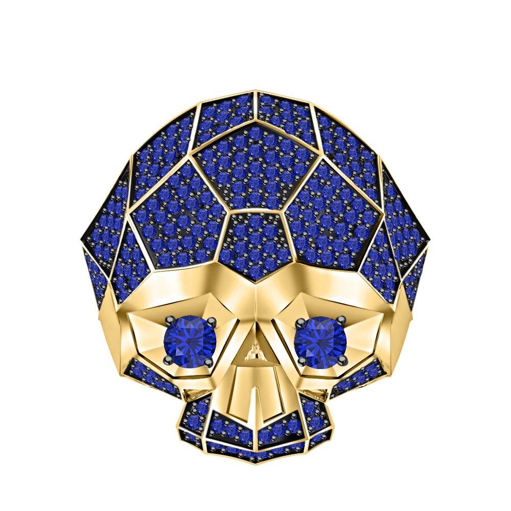 RUDRAFASHION Men's & Women's 14K Two-Tone Yellow Gold Plated 3.80 ctw Blue Sapphire Half Jaw Skull Ring
