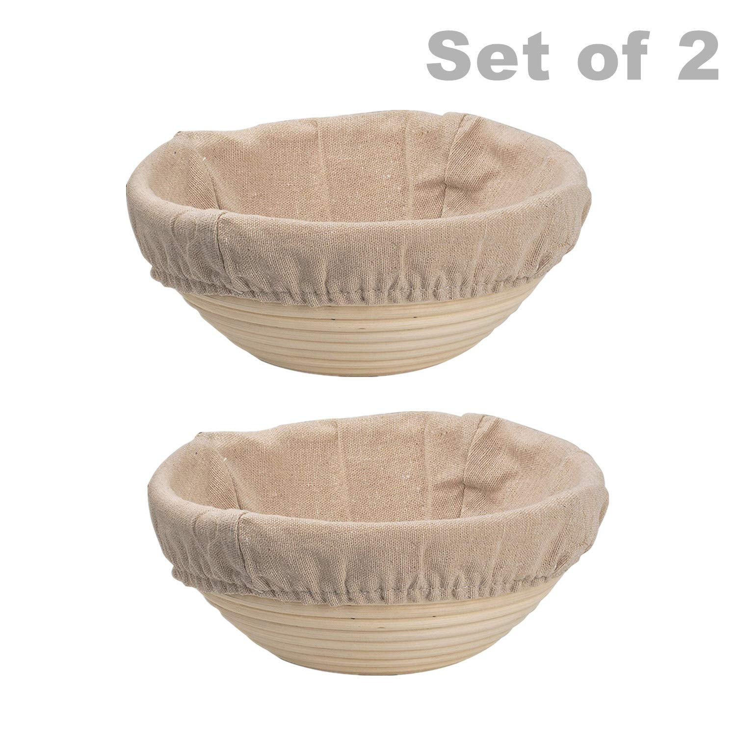 DOYOLLA Round Banneton Brotform Bread Dough Proofing Rising Rattan Basket & Liner (8.5inch 2pcs)