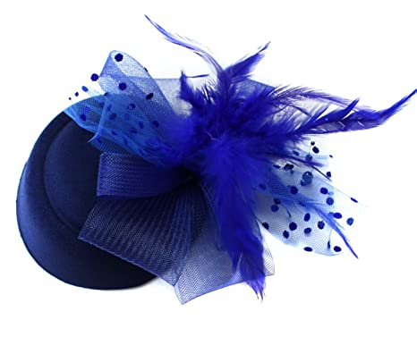 bc6eff487f32f Navy Blue Royal Pill Box Hat Fascinator Hatinator Clip Ascot Races Weddings   Amazon.co.uk  Clothing