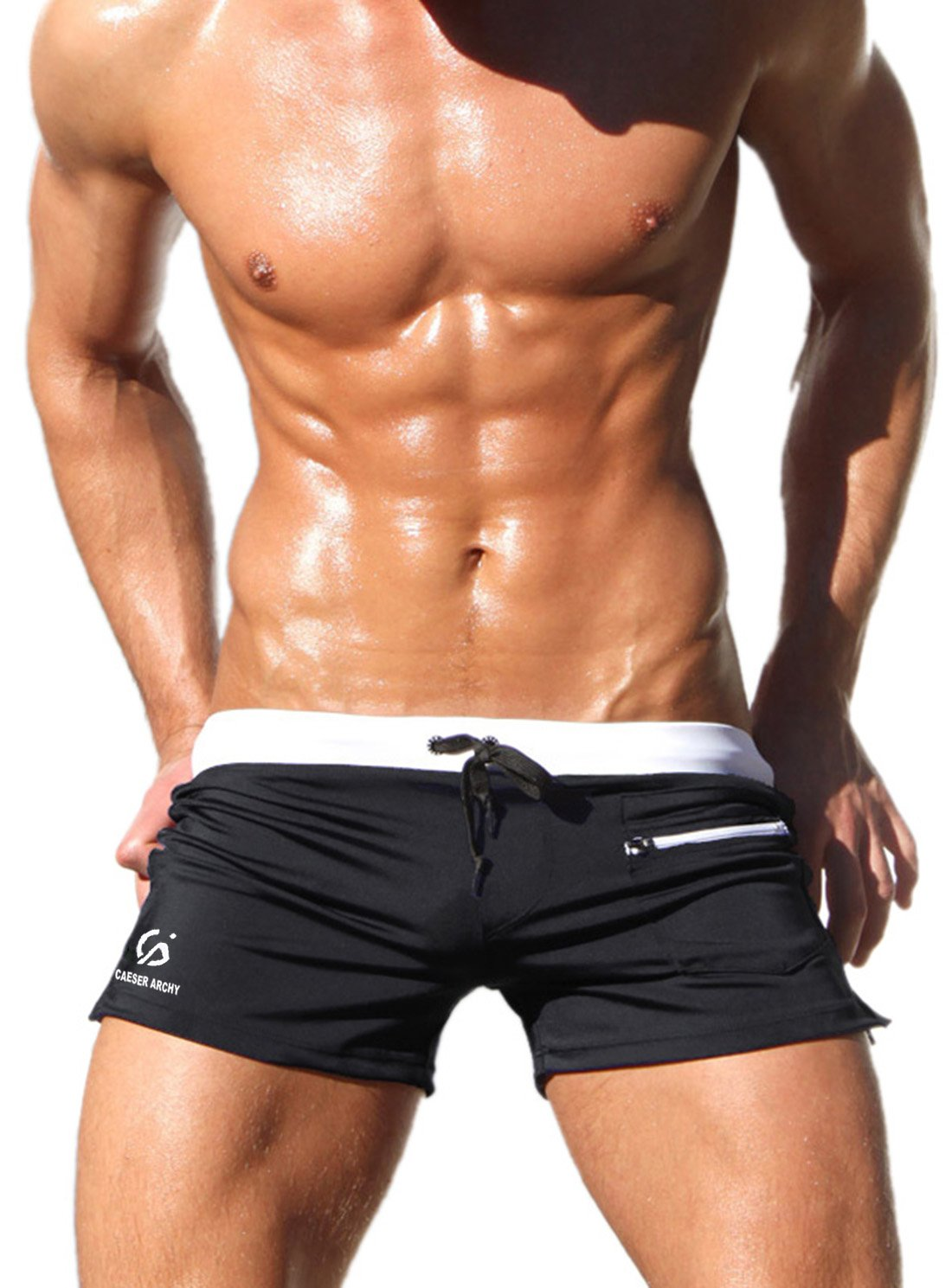 Caeser Archy Men's Boxer Brief Swimming Trunks  XLarge  Black