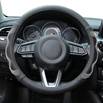 Black AOYMEI Genuine Leather Steering Wheel Cover Universal 15 inch Automotive Interior Accessories Anti-Slip Durable Comfortable Safety Odorless Wheel Protector