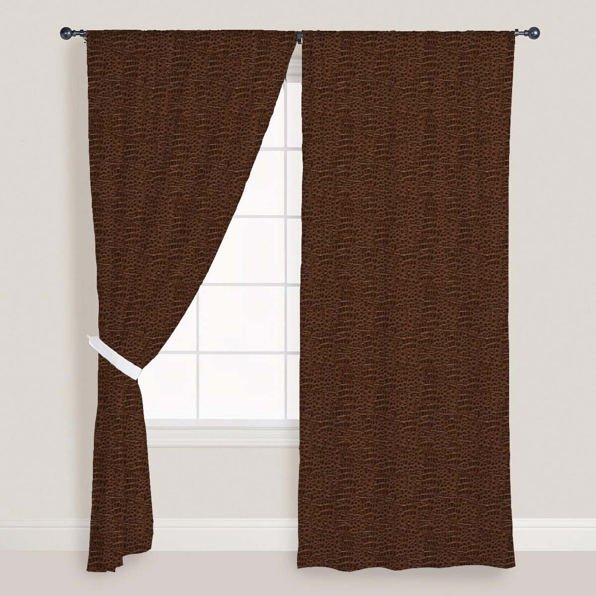 AZ Crocodile Hide Door & Window Curtain Satin 4feet x 11feet; SET OF 3 PCS