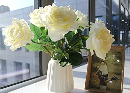 Amazon Far Selections Artificial Silk Flowers Fake Rose For