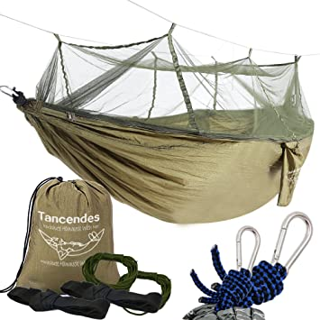 camping hammock tancendes hammock with mosquito   bed widened parachute fabric double hammock  army amazon    camping hammock tancendes hammock with mosquito        rh   amazon