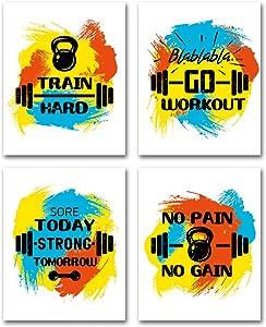 CHDITB Fitness Art Print,Bodybuilding Equipment- Dumbbells Art Painting, Set of 4 (8