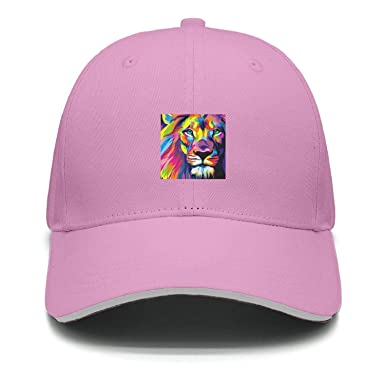 Lion Head Artwork Colorful Men s Cap Daily Use Trucker hat Cozy and snug  Snapback Hats for a6cfb78f203