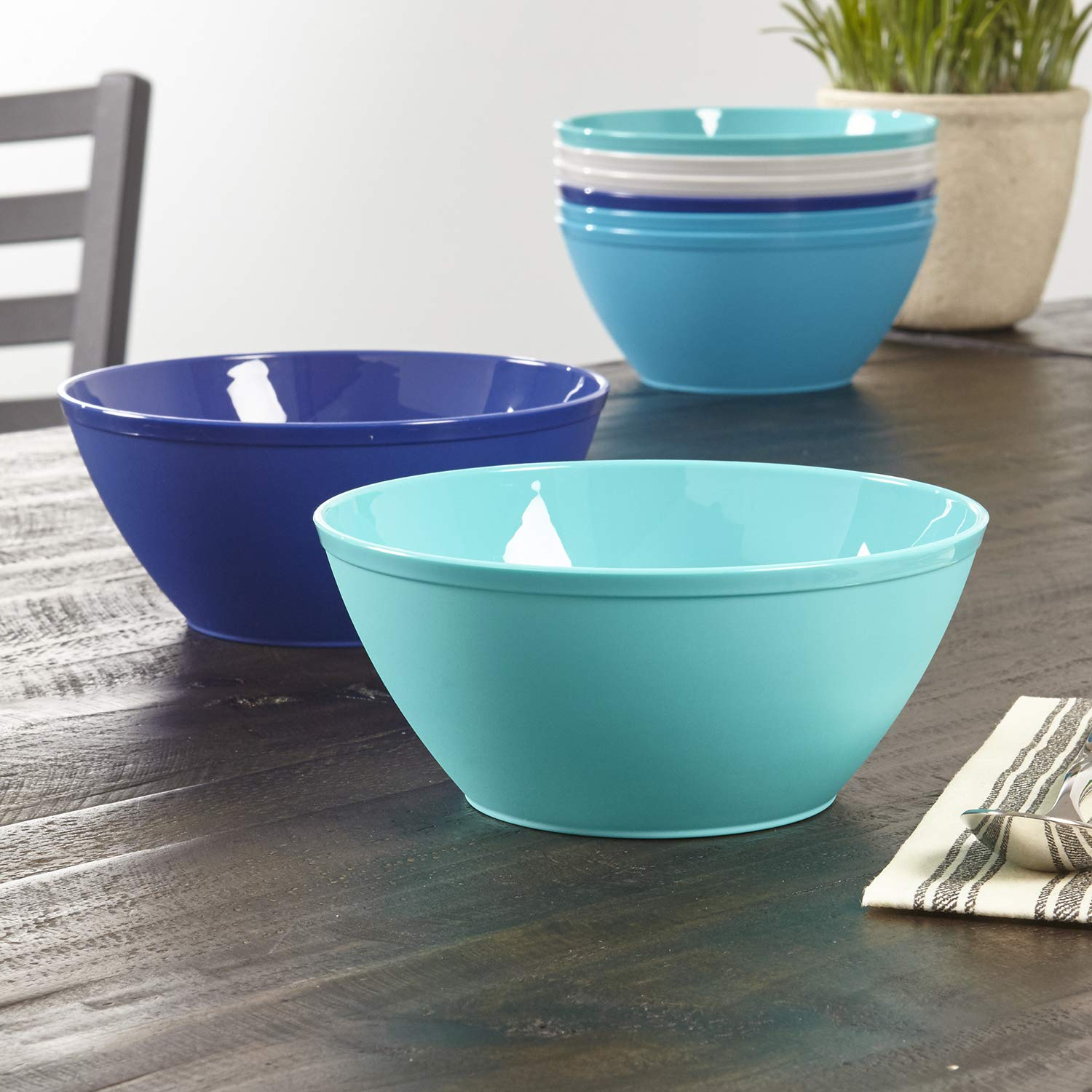 Fresco 6-inch Plastic Bowls for Cereal or Salad | set of 8 in 4 Coastal Colors by US Acrylic (Image #3)