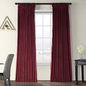 HPD Half Price Drapes VPCH-VET1216-120 Signature Extra Wide Velvet Blackout Curtain (1 Panel), 100 X 120, Burgundy