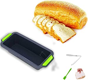 Silicone Toast Loaf Pan,loaf pan baking bread Nonstick Bread pans for Homemade Baking, 11.5x5x2.4 Inch, Bakeware loaf pan Mold (with 1 x food tongs 1x scraper 1x brush)
