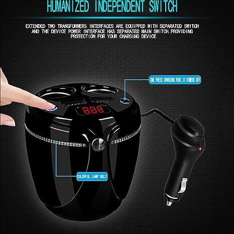 Gugutogo Portavasos Cargador de Coche Multifuncional con Pantalla LED Brillante Adaptador de Corriente Dual de encendedores