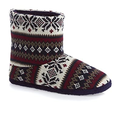 totes Mens Fairisle Knit Bootie Slippers: Amazon.co.uk: Shoes & Bags
