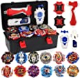 JIMI Bey Battling Top Burst Gyro Toy Set 12 Spinning Tops 3 Launchers Combat Battling Game with Portable Storage Box Gift for