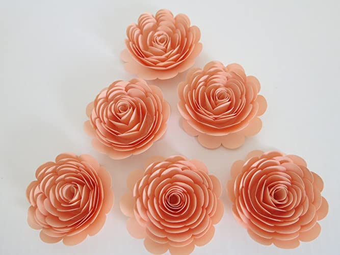 Amazon pretty peach roses set of 6 big 3 handmade paper pretty peach roses set of 6 big 3quot handmade paper flowers baby mightylinksfo