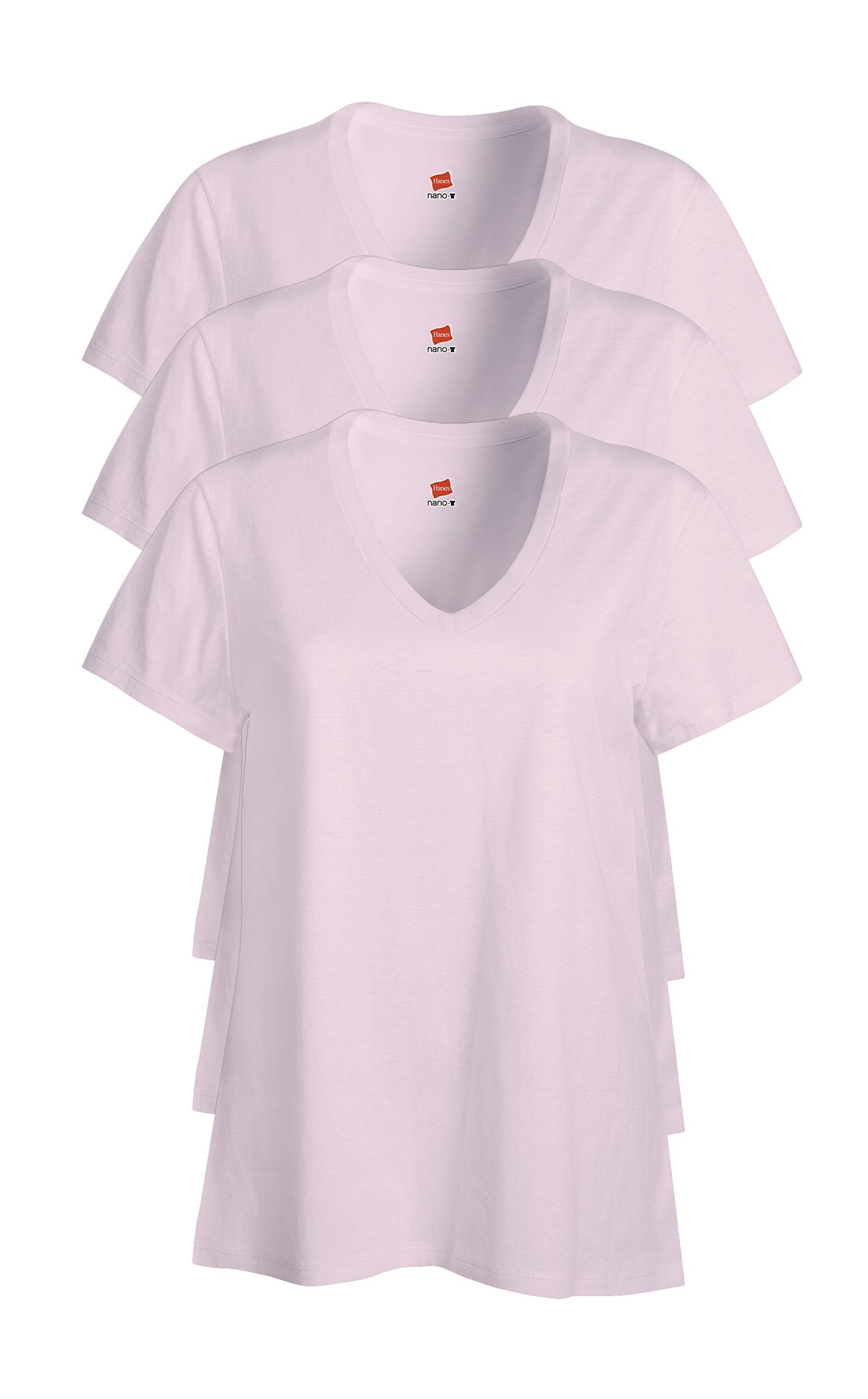 Hanes Womens 4.5 Oz., 100% Ringspun Cotton Nano-T V-Neck T-Shirt (S04V)- Pale Pink,X-Large