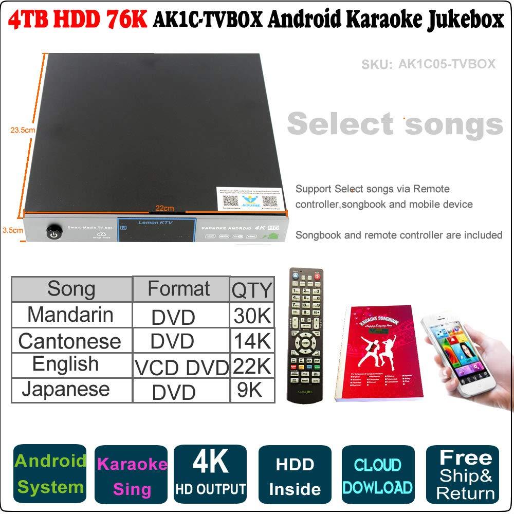 4TB HDD 76K Android Karaoke Machine, Chinese +English+Japanese Songs Player,Jukebox,Free Cloud Update, TVBOX