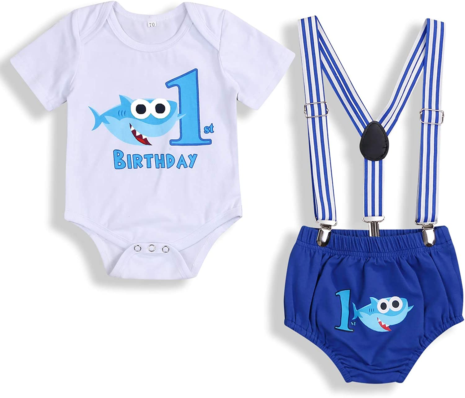 Baby Birthday Clothes 1st Shark Boys Girls Short Sleeve Bowtie Romper Shirt+Strap Suspender Shorts Cake Smash Outfits