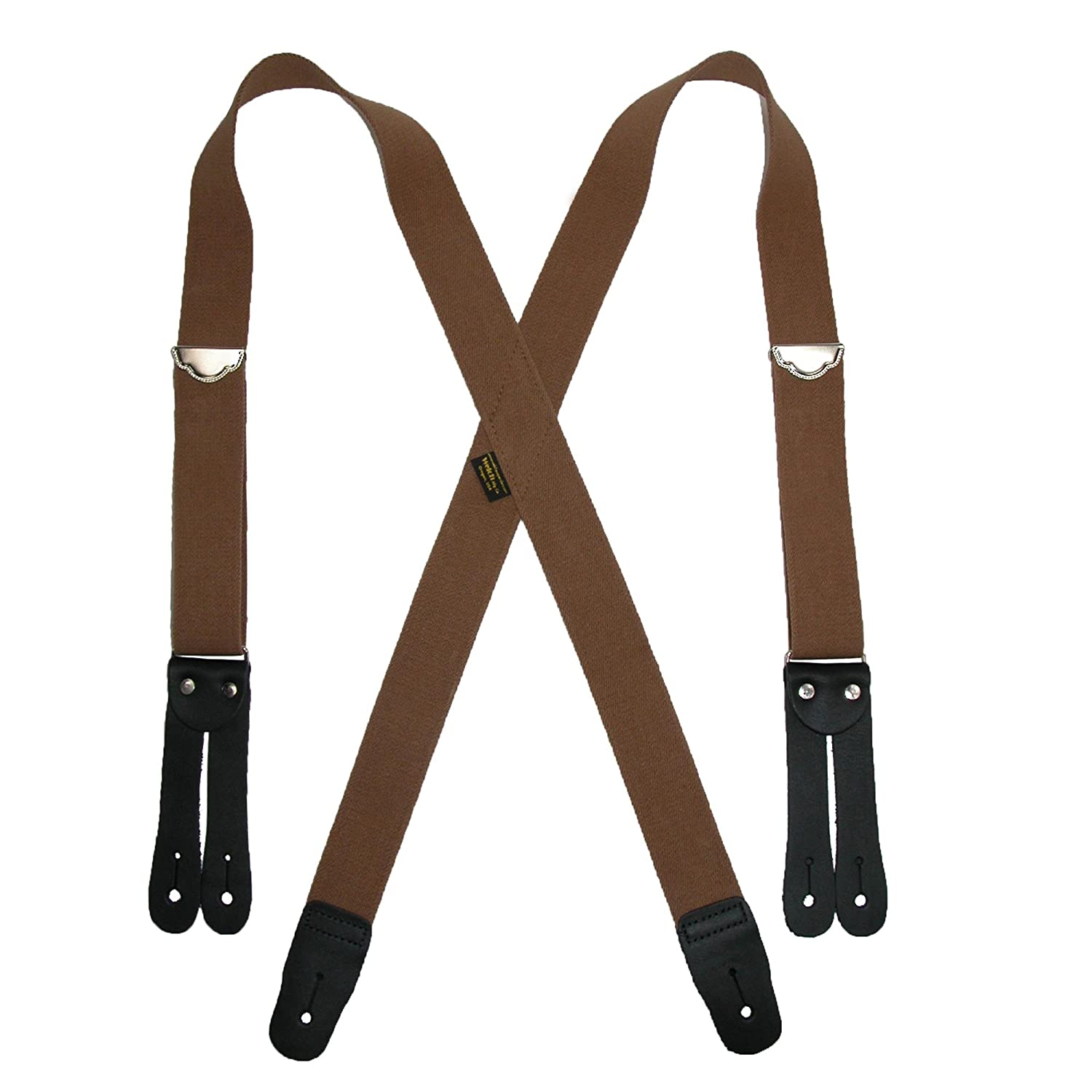 Welch Men's Big & Tall Elastic Button End Double Face Suspenders, Tan WL-2746LEF-TALL-TAN