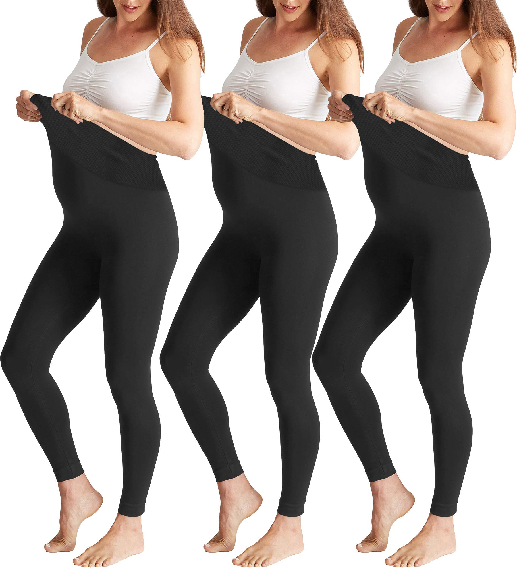 Maternity Leggings Over The Belly Activewear Stretch Nursing Clothes Black 3 Pk by Shop Pretty Girl