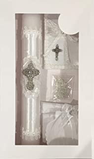 New Boys or Girls Baptism Christening Candle Box Gift 5 Pc Set Shell Missal Book in