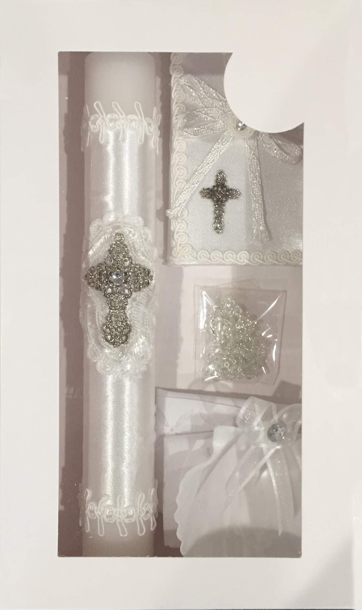 New Boys or Girls Baptism Christening Candle Box Gift 5 Pc Set Shell Missal Book in English