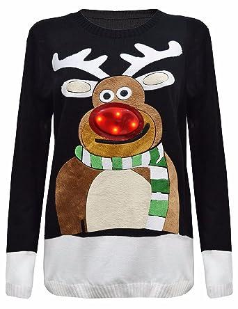 comprare popolare e4c06 d3f5b Janisramone Da Donna Uomo Nuovo Donne Albero di Natale Unisex Si Illumina  Rudolph novità Top Vintage Maglione Jumper