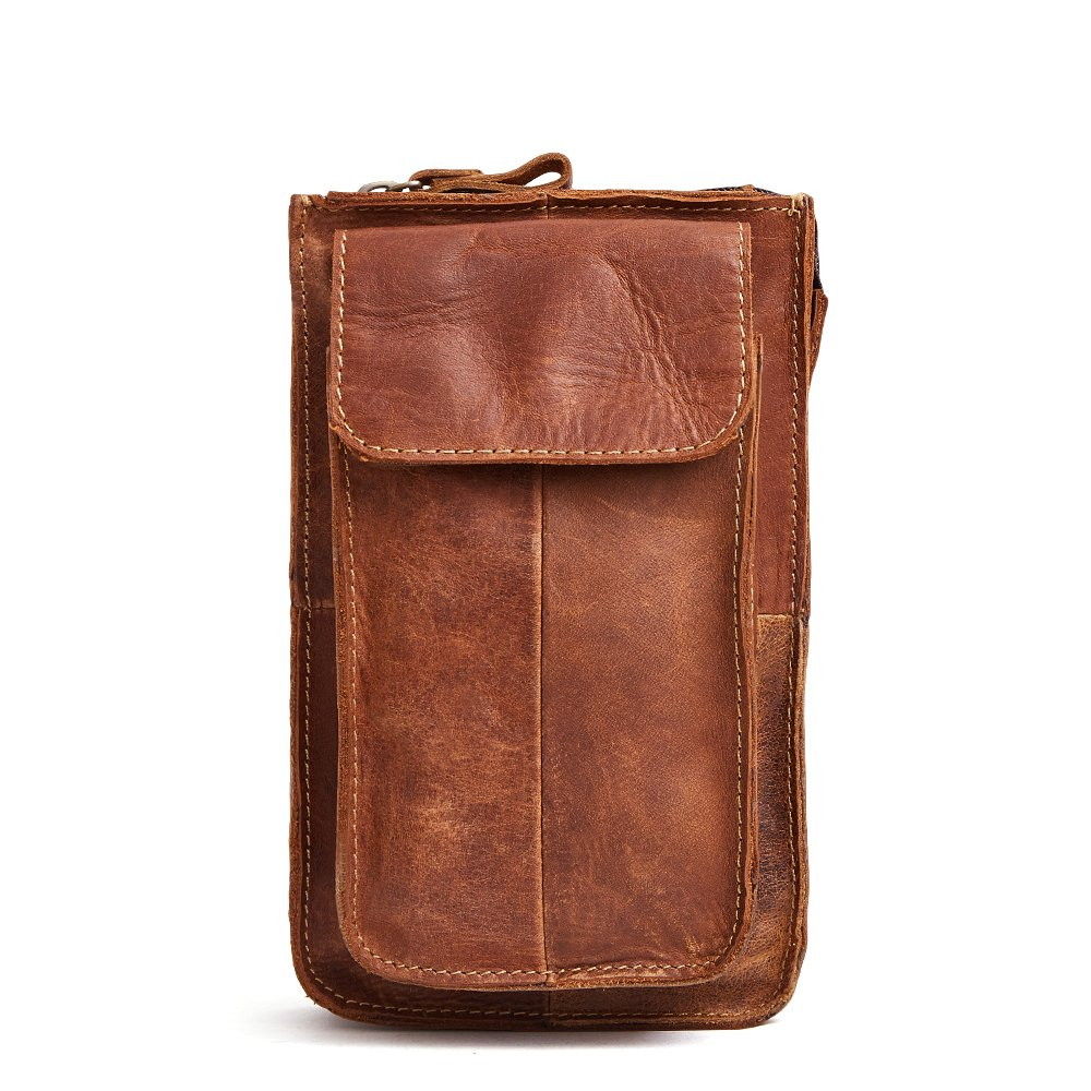 Mini Waist Pack Vintage Crazy Horse Leather Purse Belt Bag for Men Brown