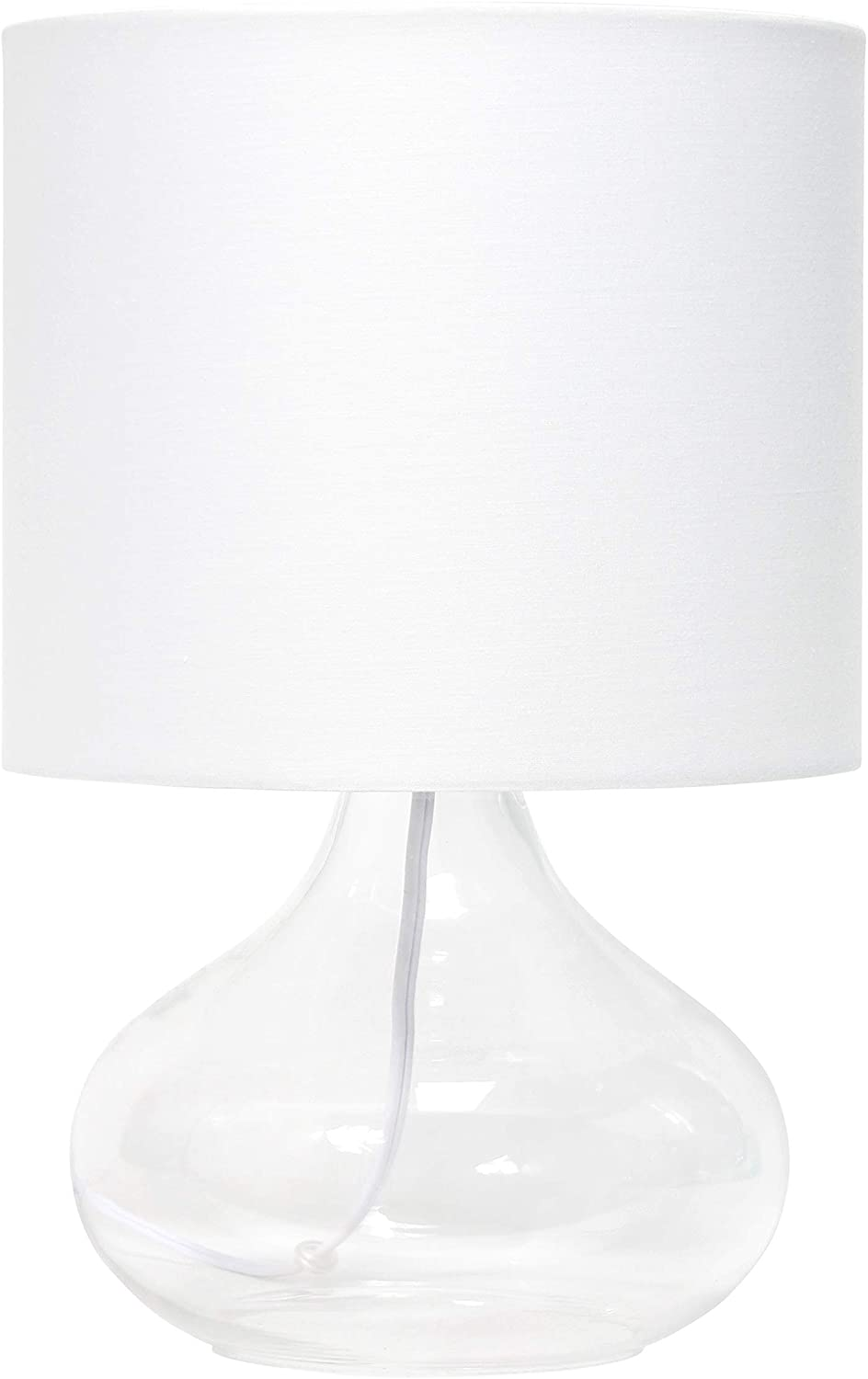 Simple Designs LT2063-CLW Glass Raindrop Fabric Shade Table Lamp, Clear/White