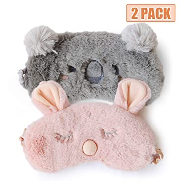 Cute Sleep Mask - Soft and Comfortable Animal Plush Blindfold Eye Cover for Kids Girls Women,...