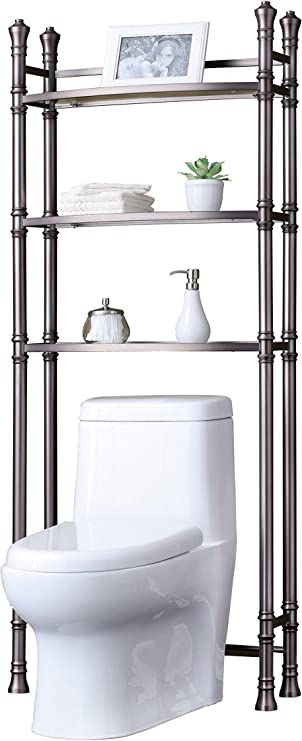 Amazon Com Best Living Monaco Bathroom Space Saver Etagere Shelf Brushed Titanium Home Kitchen