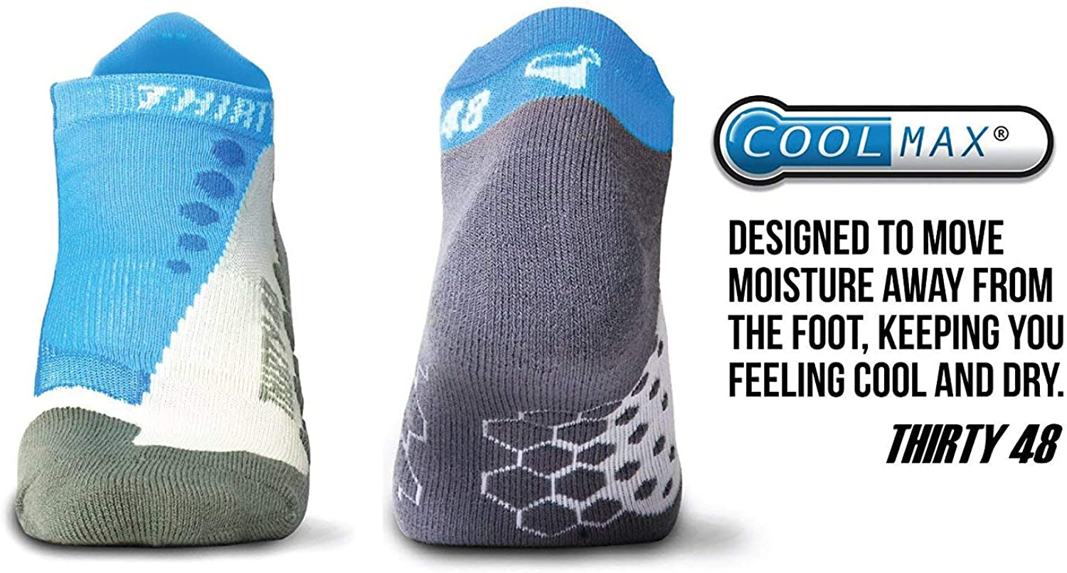 Extra Large Men 12-14 Blue//Gray Thirty 48 Running Socks for Men and Women -CoolMax Fabric Keeps Feet Cool /& Dry